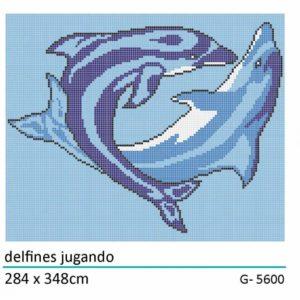 decor delfines jugando