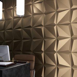 faïence origami bronze 25x25 cm