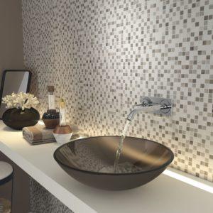 mosaïque manda composée de pierre blanche