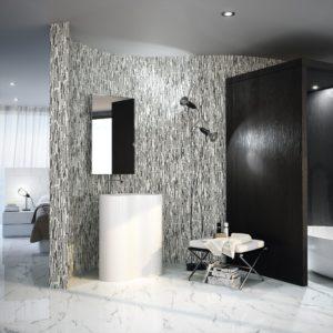 mosaïque osiris en marbre noir et blanc