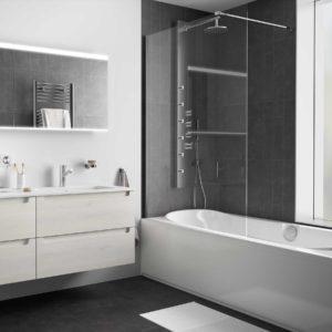Paroi de douche HEAVEN BATH walk-in pour baignoire Paillettes Transparentes 400 - 800 x 1500 mm salgar