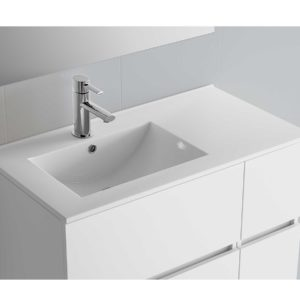 Vasque IBERIA 1005 coquette à droite EN PORCELAINE BLANCHE 1005 x 20 x 460 mm