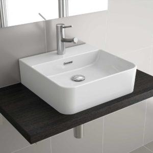 Vasque à poser TENTO 500 EN PORCELAINE BLANCHE 500 x 420 x 130 mm
